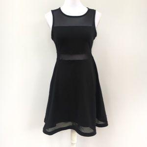 Express LBD sleeveless sheer panel black dress S